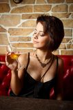Glamour girl with wineglass Stock Image