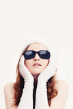 Glamour girl. Young woman with her hands under her chin Stock Photography