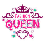 Glamour girlish print. Fancy fashion queen lettering, template for t-shirt design vector illustration