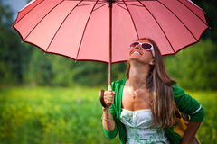 Glamour Happy  woman under umbrella Stock Photos