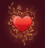 Glamour Heart with Floral Ornate Royalty Free Stock Photos
