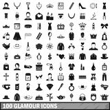 100 glamour icons set, simple style. 100 glamour icons set in simple style for any design vector illustration Royalty Free Stock Photos
