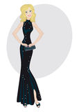 Glamour lady in black evening dress Stock Photo