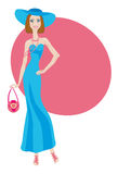 Glamour lady in blue dress Royalty Free Stock Image