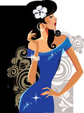 Glamour lady in blue dress Stock Photo