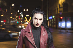 Glamour lady night out in city leather clothes Royalty Free Stock Photography