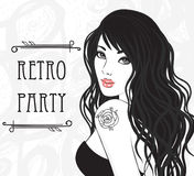 Glamour lady with rose tattoo on her shoulder. Retro party invitation design (Glamour lady with rose tattoo on her shoulder). Black and white  illustration Stock Photography