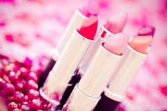 Glamour lipsticks in different colors. Collection of different lipsticks colors Royalty Free Stock Image
