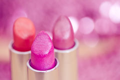 Glamour lipsticks in different colors Royalty Free Stock Photos
