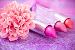 Glamour lipsticks and flower petals. Lipsticks colors with flower petals stock images