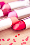 Glamour lipsticks in vivid colors. Collection of different lipsticks colors Stock Photography