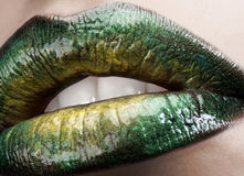 Glamour macro lips Stock Photo