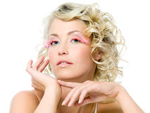 Glamour makeup on face of beautiful woman Stock Photos