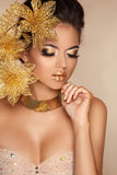 Glamour Makeup. Girl Face Close-up. Beauty Portrait Royalty Free Stock Image