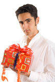 Glamour man with present Stock Photo
