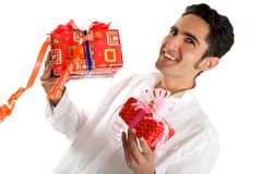 Glamour man with present. Royalty Free Stock Photography
