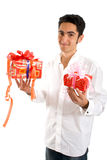 Glamour man with present. Stock Photography