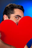 Glamour man with red heart. Portrait of glamour man with red heart Stock Photo
