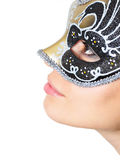 Glamour mask. Closeup photo of a young lady with a glamour mask stock photos