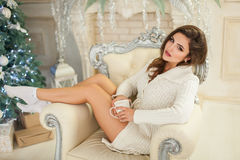 Glamour model in beautiful living-room Royalty Free Stock Photos