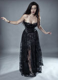 Glamour model in black lace dress. Gorgeous beauty model in black lace dress on gray background Stock Photo