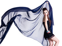 Glamour model with chiffon Royalty Free Stock Photos