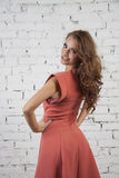 Glamour model in luxurous pink dress Royalty Free Stock Photo