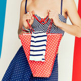 Glamour model. Marine style and polka dots. summer time Royalty Free Stock Image