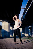 Glamour model near bridge Royalty Free Stock Images