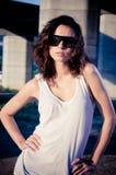 Glamour model near bridge Stock Photos