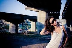 Glamour model near bridge Stock Image