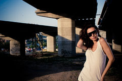 Glamour model near bridge Stock Photo
