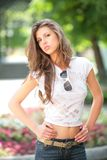 Glamour model in park Royalty Free Stock Image