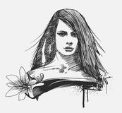 Glamour model portrait. A hand drawn glamour model portrait Royalty Free Stock Photo