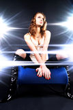 Glamour model superstar. Bright glazing flashes light Royalty Free Stock Photography