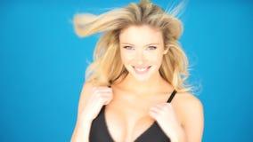 Glamour model wearing black bra stock footage