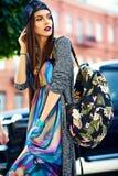 glamour modieuze model in de kleren van de hipsterzomer Royalty-vrije Stock Foto