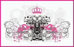 Glamour ornament. Vector background with curls, flowers, crown and elements for design Stock Images