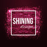 Glamour pink background with glitters and frame Royalty Free Stock Photos