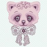 Glamour pink cat toy with a bow of rhinestones and crystals. Print for t-shirt. Royalty Free Stock Images