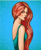 Glamour pop art girl with long hair vector illustration. Vector illustration of beautiful sexy pin up girl with long hair. Glamour woman portrait in retro pop Royalty Free Stock Photos