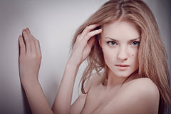 Glamour portrait of beautiful sensual woman model Stock Photos
