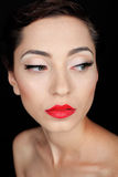 Glamour portrait of a beautiful serious woman with red lips Stock Images