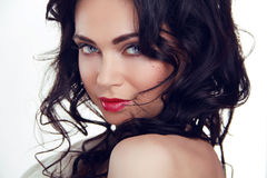 Glamour portrait of beautiful sexy woman model with makeup and r Stock Photo