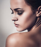 Glamour portrait of beautiful woman model with fresh clean skin. Photo stock image