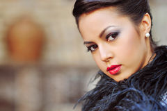 Glamour portrait of beautiful woman model with fresh daily makeu Royalty Free Stock Photo