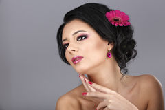 Glamour portrait of beautiful woman model with fresh daily makeu Stock Photos