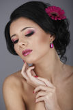 Glamour portrait of beautiful woman model with fresh daily makeu Stock Image