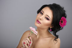Glamour portrait of beautiful woman model with fresh daily makeu Stock Photography