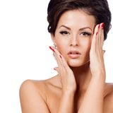 Glamour portrait of beautiful woman model Royalty Free Stock Images